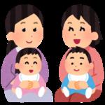 母と幼児2組のイラスト