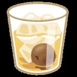 グラスに入った梅ジュースのイラスト
